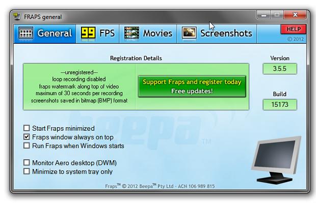 Fraps Laptop Screen Recorder